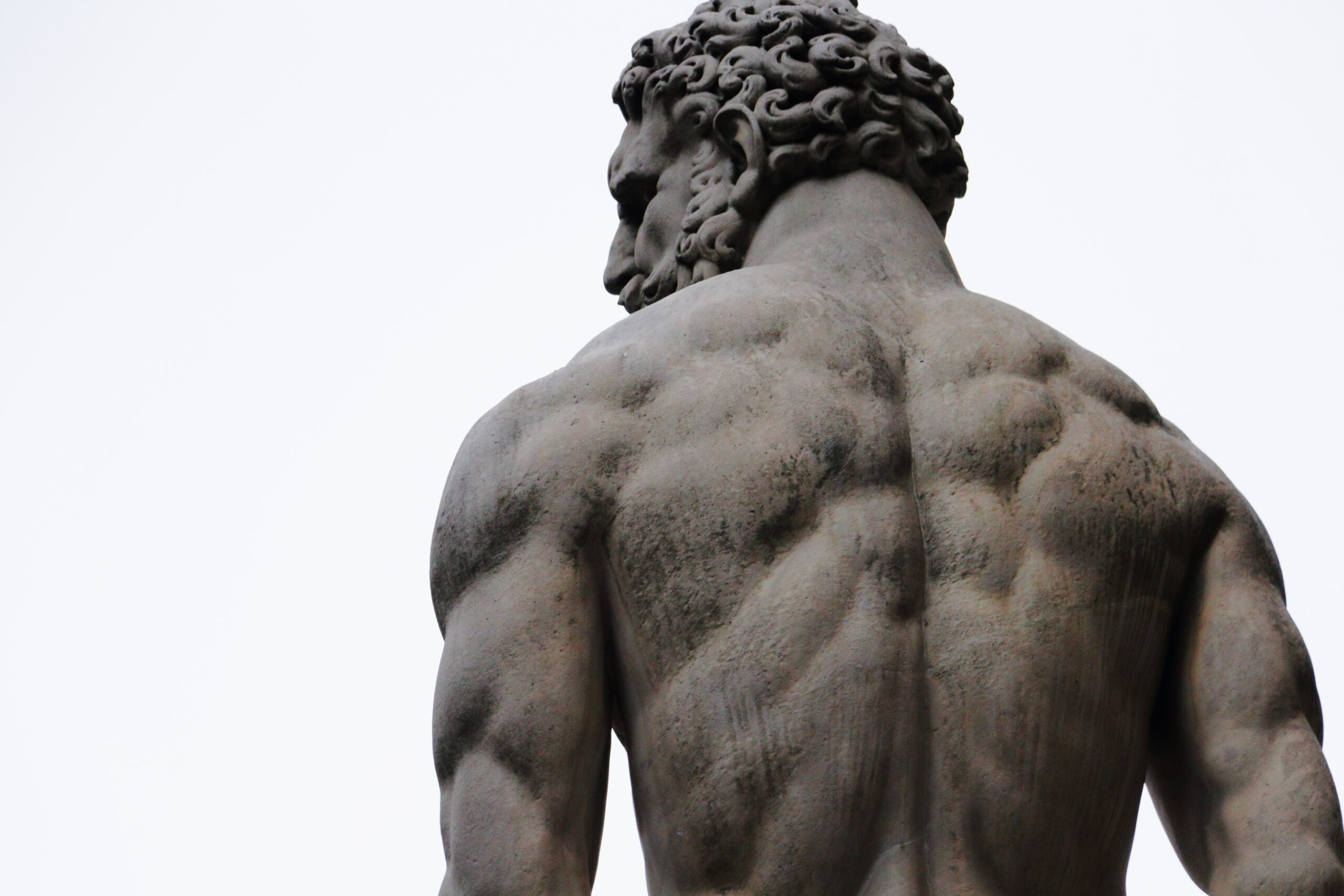 Back of a strong man and story of Samson