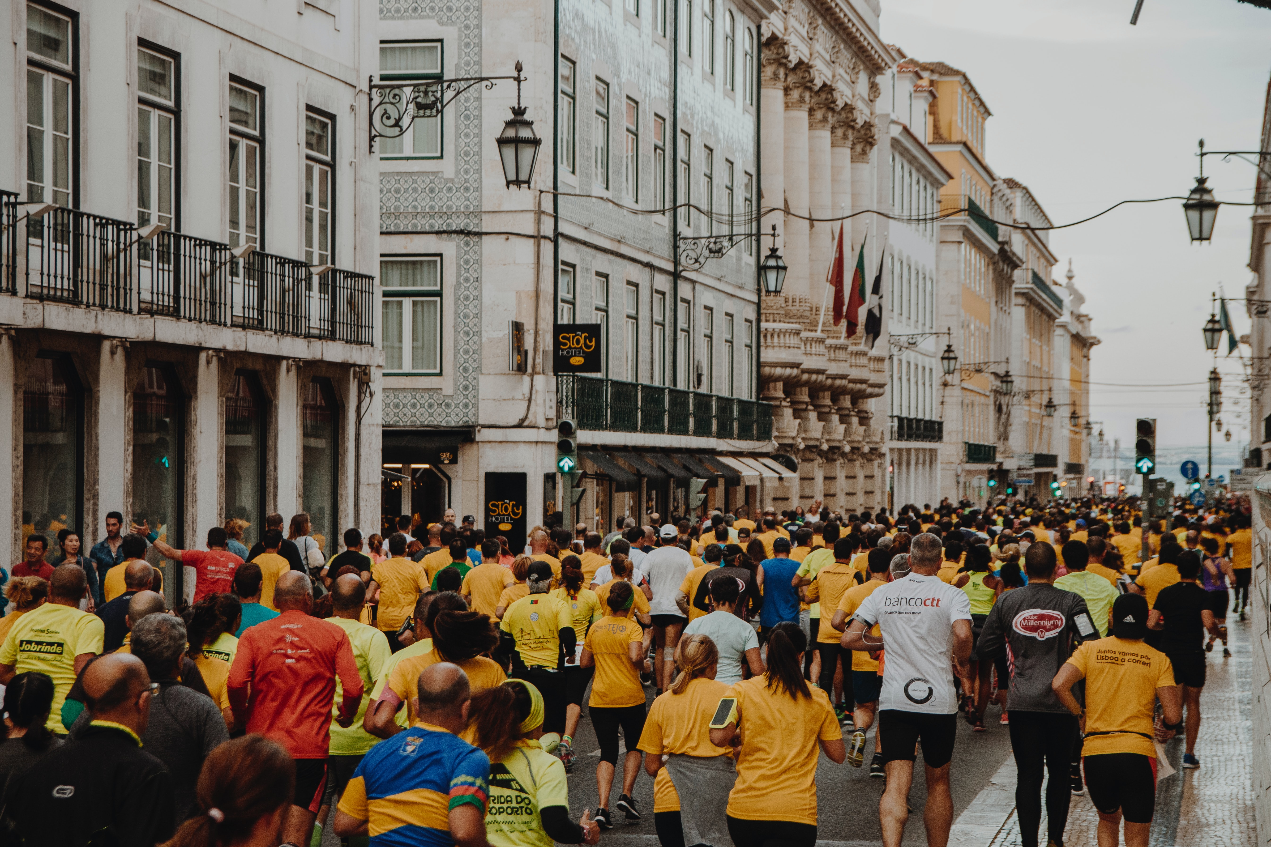 Crowd of runners outpace yourself at work